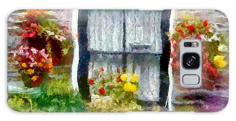Window Galaxy S8 Case featuring the painting Brick And Blooms by RC DeWinter