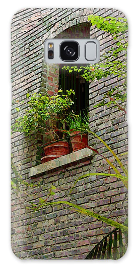 Window Galaxy S8 Case featuring the painting Brick With Greenery by RC DeWinter