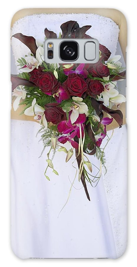 Day Galaxy S8 Case featuring the photograph Brides Bouquet And Wedding Dress by Darren Greenwood