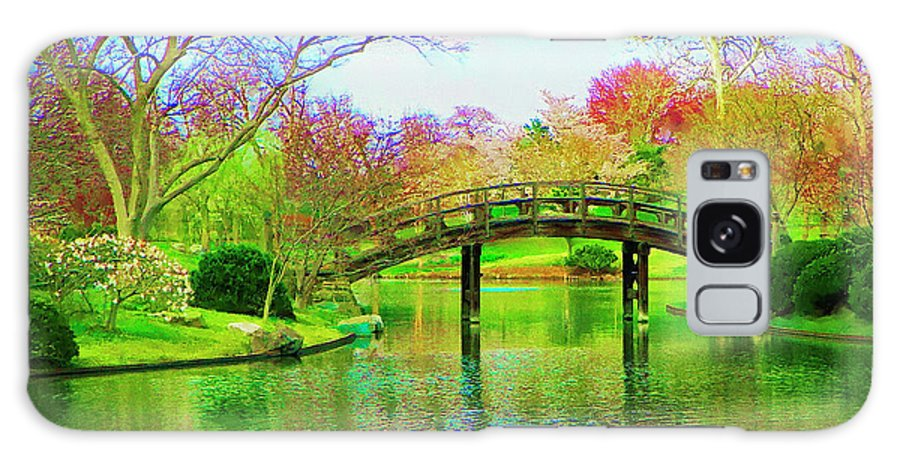 Bridge Galaxy S8 Case featuring the painting Bridge Over Lake In Spring by Susanna Katherine
