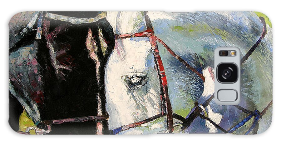 Horses Galaxy S8 Case featuring the painting Bridled Love by John Lautermilch