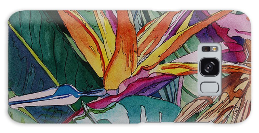 Floral Galaxy S8 Case featuring the painting Brillant Bird Of Paradise by Terry Holliday