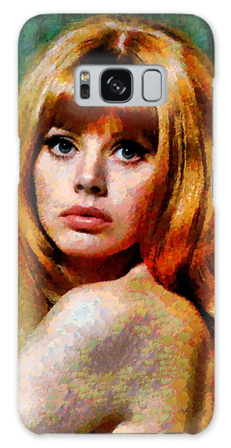 Brit Ekland Galaxy S8 Case featuring the painting Brit Ekland - Abstract Expressionism by Georgiana Romanovna