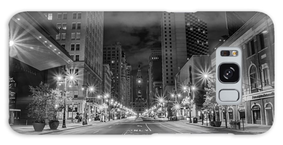 Broad Galaxy S8 Case featuring the photograph Broad Street At Night In Black And White by Bill Cannon