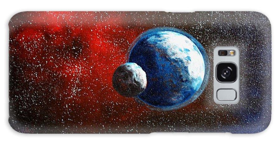 Astro Galaxy S8 Case featuring the painting Broken Moon by Murphy Elliott