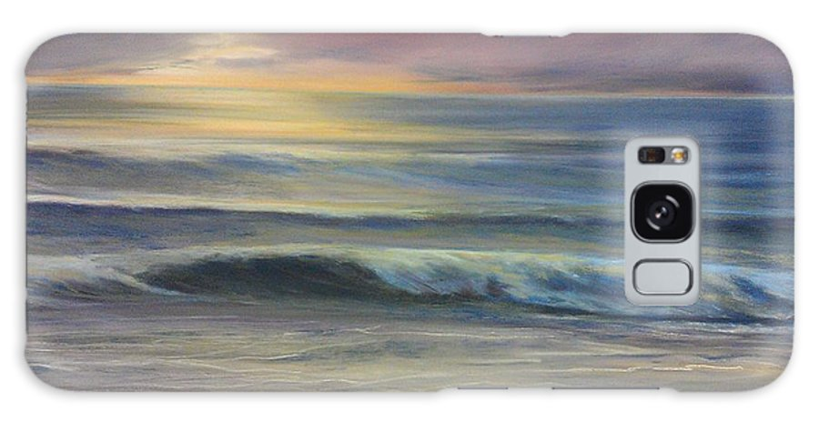 Seascape In Rich Blues On Canvas Galaxy S8 Case featuring the painting Brookings Beach After The Storm by Pamela Heward