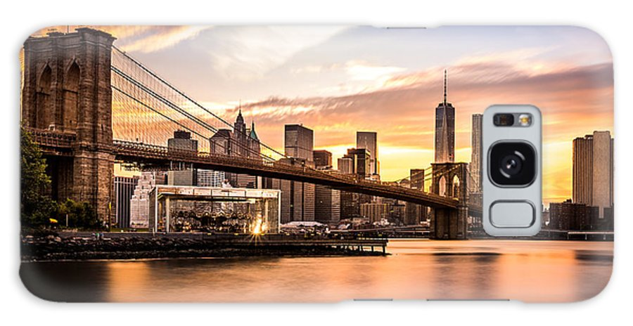 America Galaxy S8 Case featuring the photograph Brooklyn Bridge At Sunset by Mihai Andritoiu