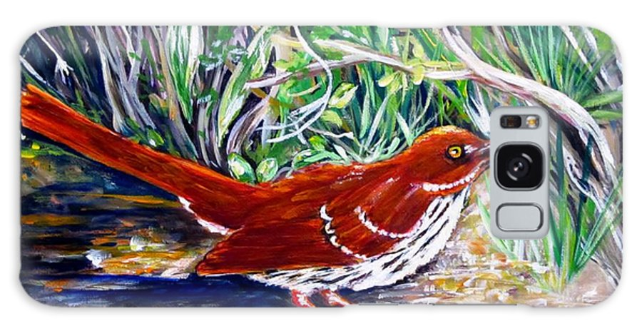 Brown Thrasher Galaxy S8 Case featuring the painting Brown Thrasher In Sunlight by Carol Allen Anfinsen