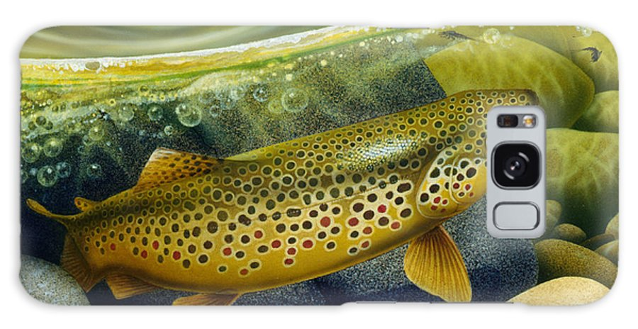 Jon Q Wright Galaxy Case featuring the painting Brown Trout by JQ Licensing