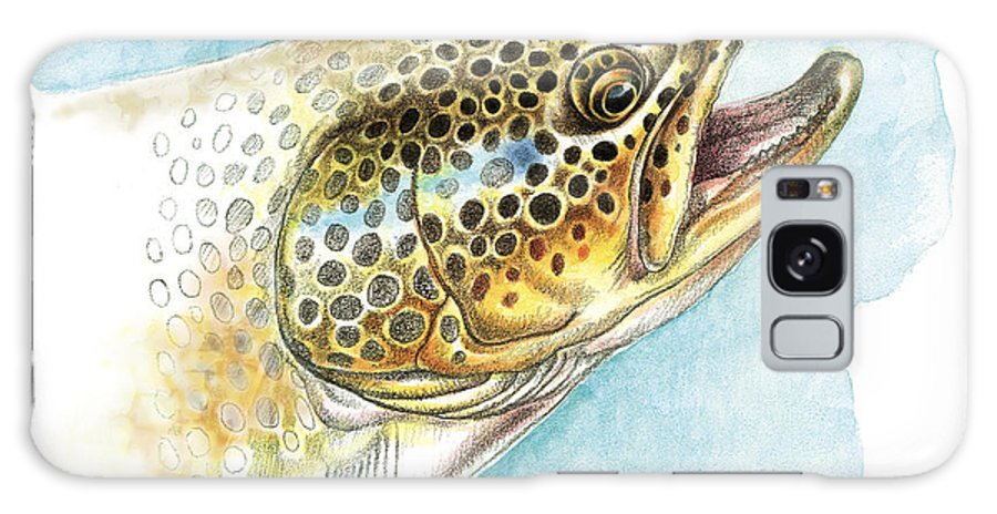 Rainbow Trout Study Galaxy S8 Case featuring the painting Brown Trout Study by JQ Licensing