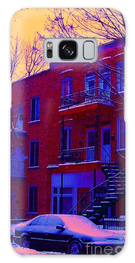 Montreal Galaxy S8 Case featuring the photograph Brownstones In Winter 6 by Carole Spandau