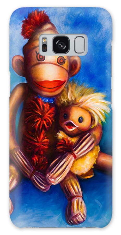 Sock Monkeys Brown Galaxy S8 Case featuring the painting Buddies by Shannon Grissom