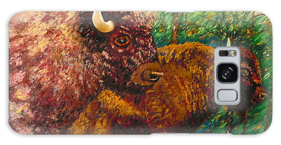 Buffaloes Galaxy S8 Case featuring the painting Buffaloes by Francesca Kee