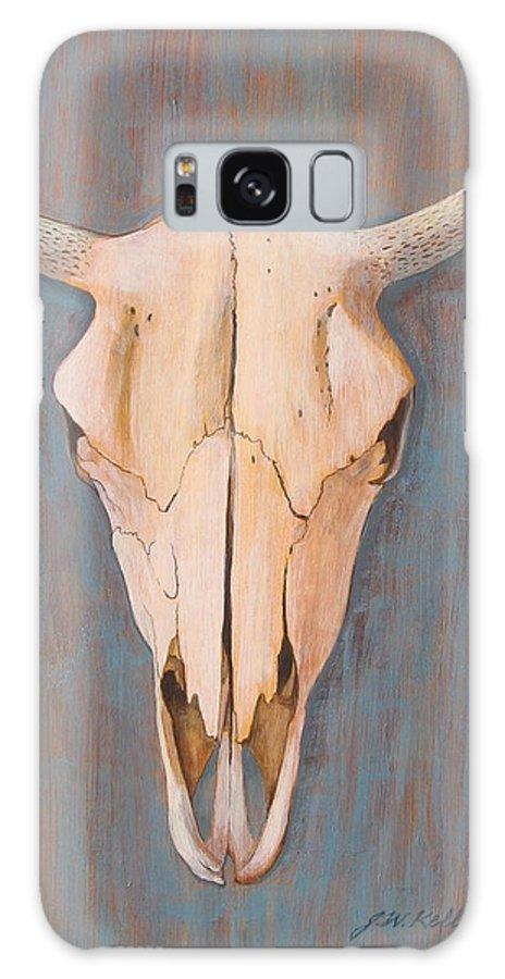 Horned Bull Skull Galaxy S8 Case featuring the painting Bullskull No.3 by J W Kelly