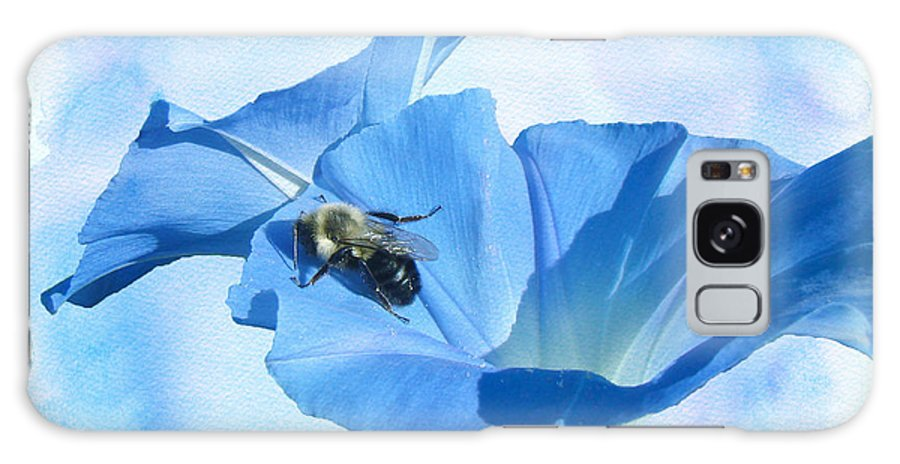 morning Glory Galaxy S8 Case featuring the photograph Bumblebee And Blue Morning Glory by Mother Nature