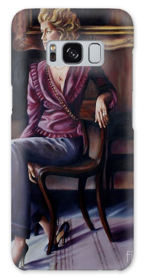 Beautiful Lady Galaxy S8 Case featuring the painting Burgundy Lady by Myra Goldick