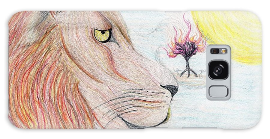 Lion Galaxy S8 Case featuring the drawing Burning Leo by Jarem Vilez