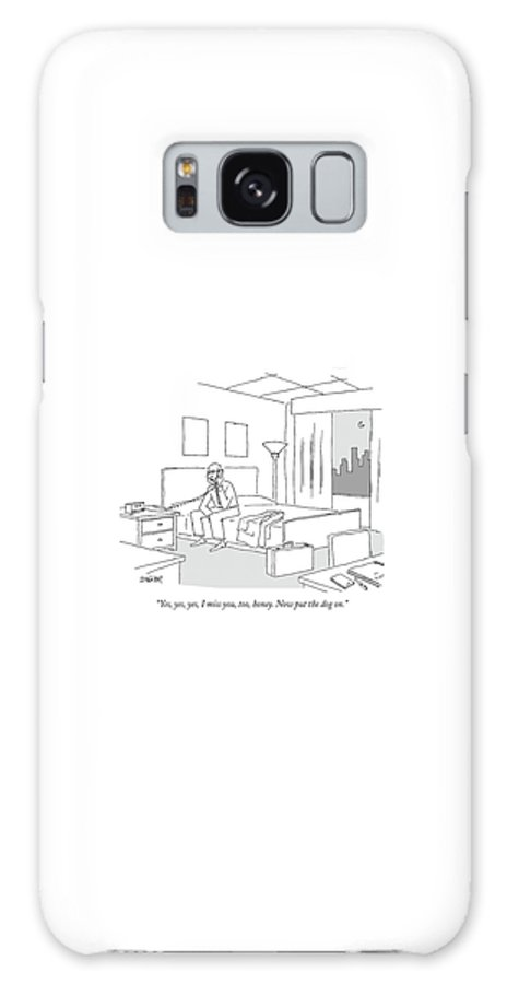 Relationships Pets Travel Problems  (businessman Sitting On A Bed In Hotel Room Talking On The Phone.) 121246 Jzi Jack Ziegler Topziegler Galaxy S8 Case featuring the drawing Businessman Sitting On A Bed In Hotel Room by Jack Ziegler