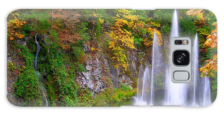 Autumn Galaxy S8 Case featuring the photograph Butchart Waterfall And Fountain-- by Brian Hoover