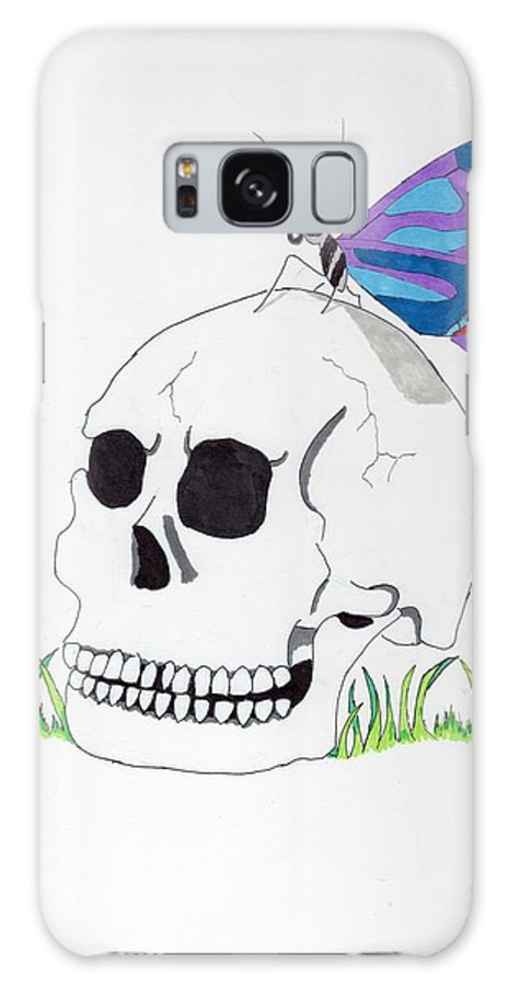 Skull Galaxy S8 Case featuring the mixed media Butterfly Skull by Tristan Radu