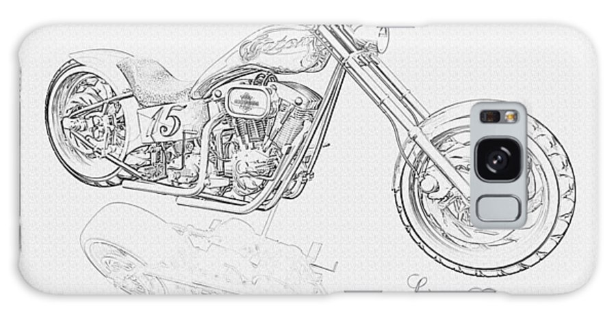 Pencil Drawing Motorcycle Galaxy S8 Case featuring the digital art Bw Gator Motorcycle by Louis Ferreira
