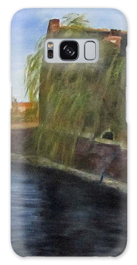 Landscape Galaxy S8 Case featuring the painting By The Canal - Leuven Belgium by Linda Feinberg