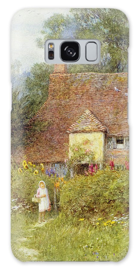 Cottage Galaxy S8 Case featuring the photograph By The Cottage Gate Wc On Paper by Helen Allingham
