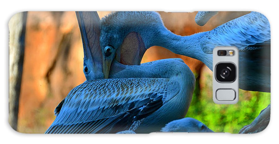 Great White Pelicans Galaxy S8 Case featuring the photograph By The Throat by David Lee Thompson