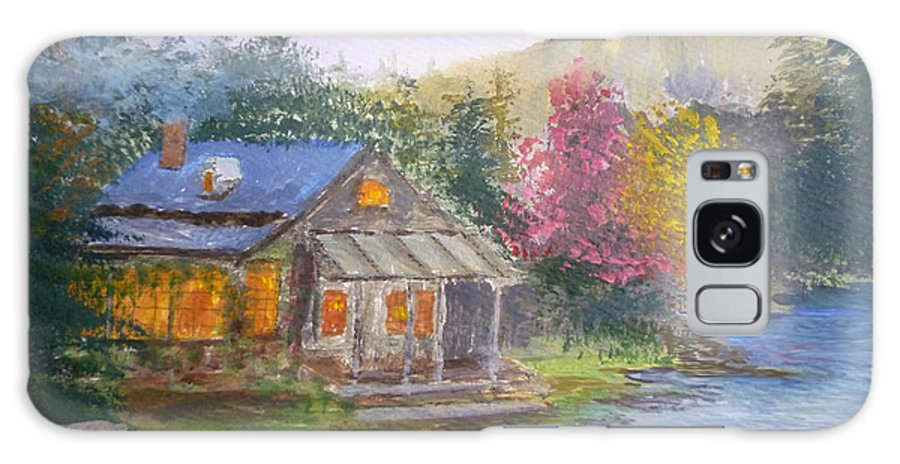 Cabin Galaxy S8 Case featuring the painting Cabin Home by Julie Metzler