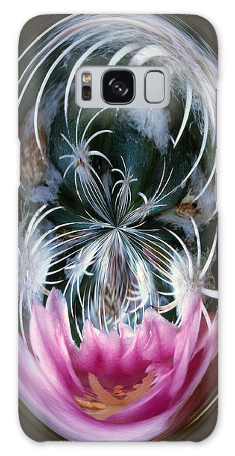 Abstract Galaxy Case featuring the photograph Cactus Flower Abstract by Keith Gondron