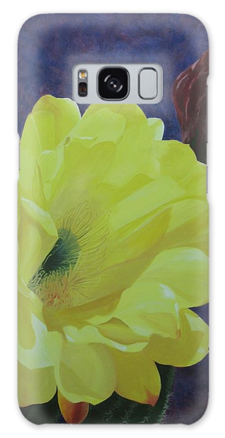 Argentine Cactus Bloom Galaxy Case featuring the painting Cactus Morning by Janis Mock-Jones