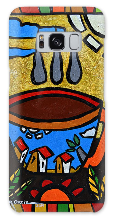 Red Galaxy Case featuring the painting Cafe Criollo by Oscar Ortiz
