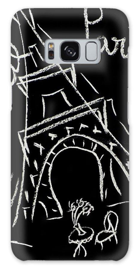 Tour Eiffel Artwork Galaxy Case featuring the digital art Cafe De Paris by Corinne de la garrigue