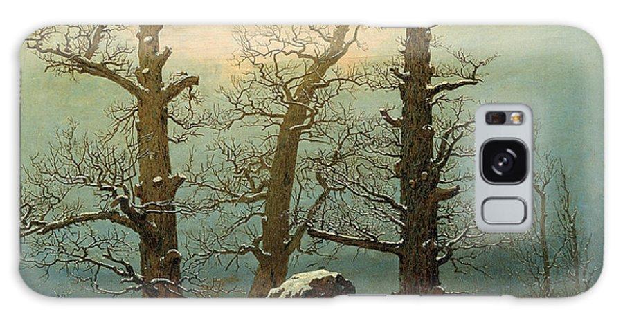 Caspar David Friedrich Galaxy S8 Case featuring the painting Cairn In Snow by Caspar David Friedrich