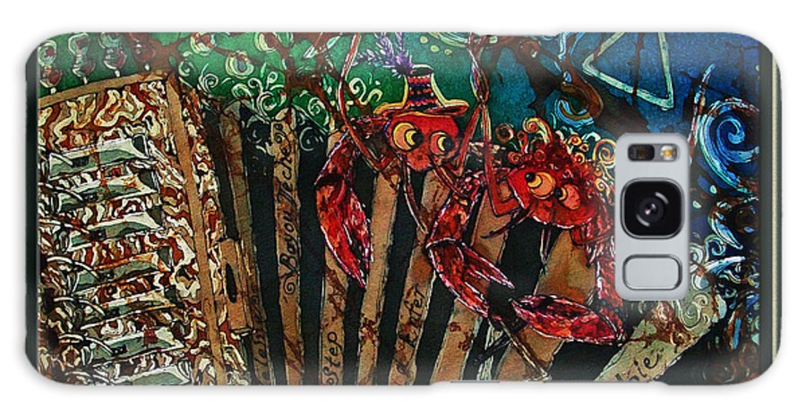 Acadian Galaxy S8 Case featuring the painting Cajun Accordian - Bordered by Sue Duda