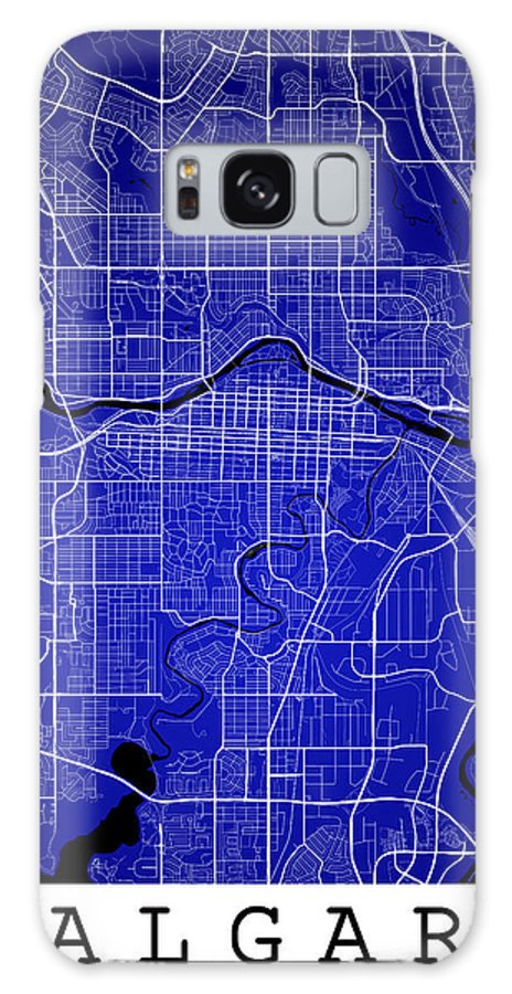 Road Map Galaxy S8 Case featuring the digital art Calgary Street Map - Calgary Canada Road Map Art On Colored Back by Jurq Studio