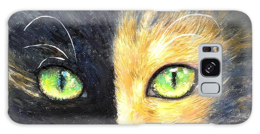 Cat Art Print Shijun Munns Cat Art Galaxy S8 Case featuring the painting Calico Cat by Shijun Munns