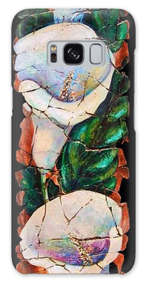 Fresco Antique Painting Flower Galaxy S8 Case featuring the painting Calla Fresco by Lena Owens OLena Art