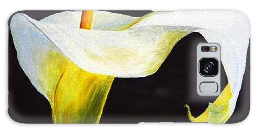 Close-up Galaxy S8 Case featuring the painting Calla Lily by Bruce Combs - REACH BEYOND
