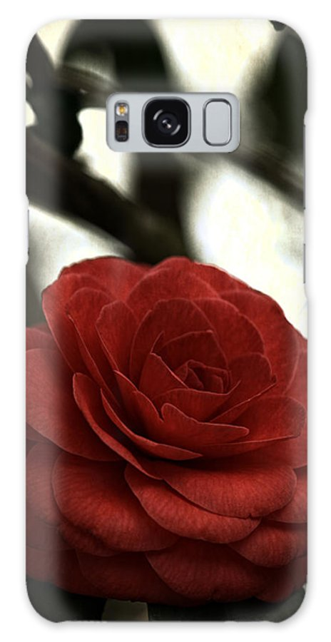 Red Galaxy Case featuring the photograph Camellia Grunge by Keith Gondron