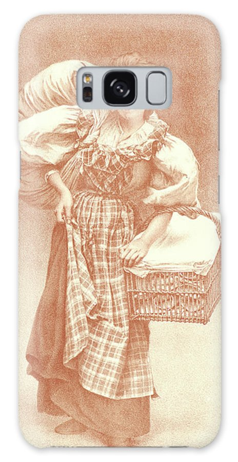 Camille Félix Bellanger Galaxy S8 Case featuring the drawing Camille Félix Bellanger French, 1853 - 1923. The Laundress by Litz Collection