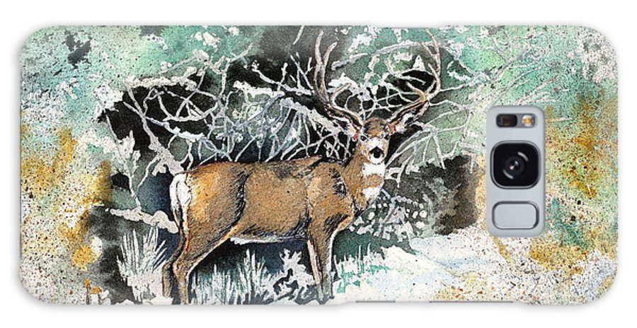 Camouflage Galaxy S8 Case featuring the painting Camouflaged Mule Deer Buck In Winter by Dale Jackson