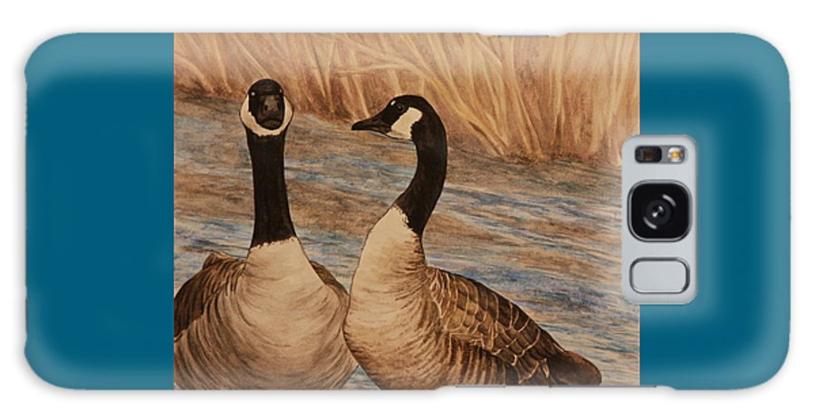 Canadian Goose Galaxy Case featuring the painting Canadian Geese by Michelle Miron-Rebbe