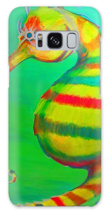 Elaine Haakenson Galaxy S8 Case featuring the painting Candy Cane Seahorse by Elaine Haakenson
