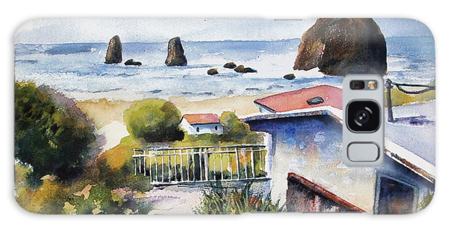 Cannon Beach Galaxy S8 Case featuring the painting Cannon Beach Cottage by Marti Green