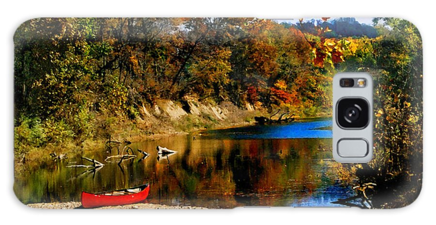 Autumn Galaxy S8 Case featuring the photograph Canoe on the Gasconade River by Steve Karol