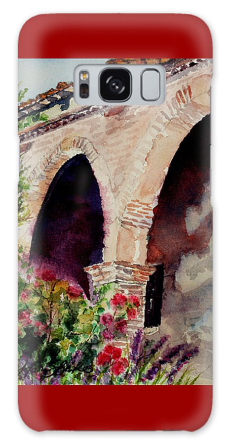 Watercolor Galaxy S8 Case featuring the painting Capistrano Arches by Mary Benke