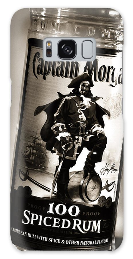 Rum Galaxy S8 Case featuring the photograph Captain Morgan Black And White by Janie Johnson