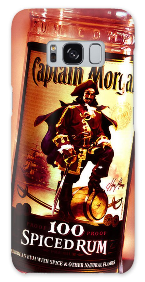 Rum Galaxy S8 Case featuring the photograph Captain Morgan Red Toned by Janie Johnson