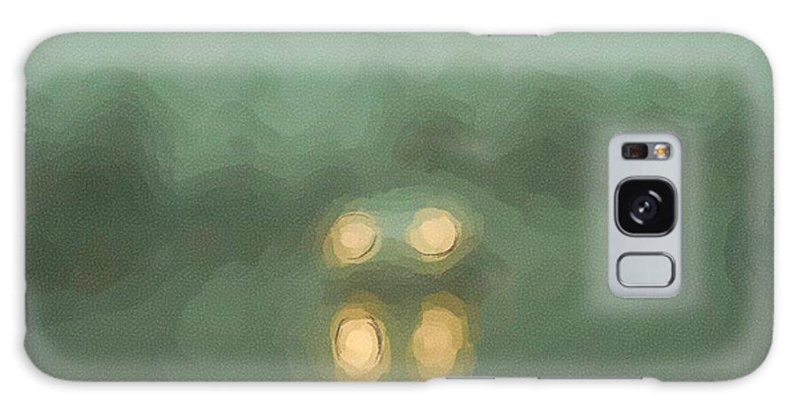 Fog Galaxy S8 Case featuring the digital art Car Lights In Fog And Rain by George Ferrell